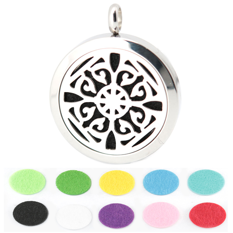 10pcs Round Silver Design 30mm Aromatherapy Essential Oils Stainless Steel Perfume Diffuser Locket Necklace With chain and Pads