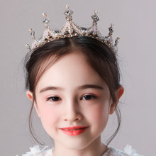 Pink snow princess hair ornaments childrens birthday diamond crown handmade crystal