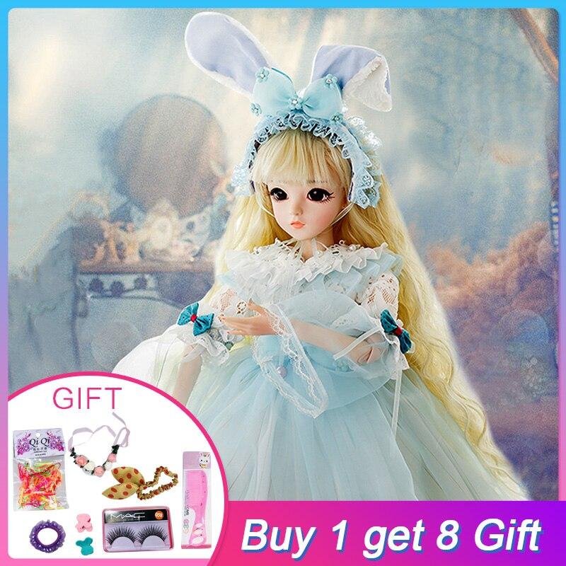 UCanaan 1/3 Bambole BJD SD Bambola Con Il Vestito di Coniglio Vestito Elegante Parrucche Shose Trucco Bella Giocattoli per le Ragazze Bambole 60 cm