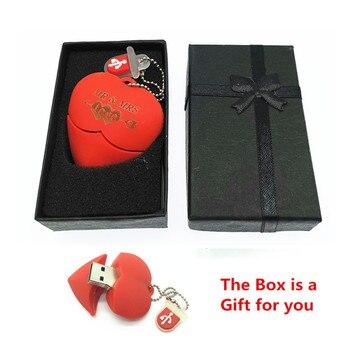 Usb Stick Red heart wedding gift USB Flash 2.0 Memory Drive Stick Pen/Thumb/Car usb flash drives 4gb 8gb 16gb 32gb 64gb + Box