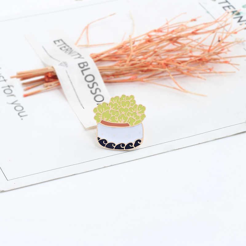 Kartun Baru Bunga Pot Enamel Pin Bros Perempuan Lucu Hewan Katak Jaket Kerah Pin Logam Bros Perhiasan Beberapa Lencana Hadiah