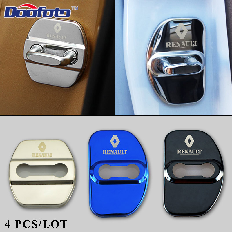 Doofoto Car Styling Auto Stainless Steel Emblems Badge For Renault Koleos Logo Car Accessories Stainless Steel Door Lock Covers