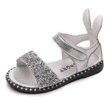 COZULMA Girls Sandals Kids Summer Shoes for Rhinestone Sequins Rabbit Ear Bling Children Beach
