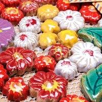 vintage colorful pottery flowers irregular ceramic mosaic tiles for home improvement kitchen backsplash HMCM1010