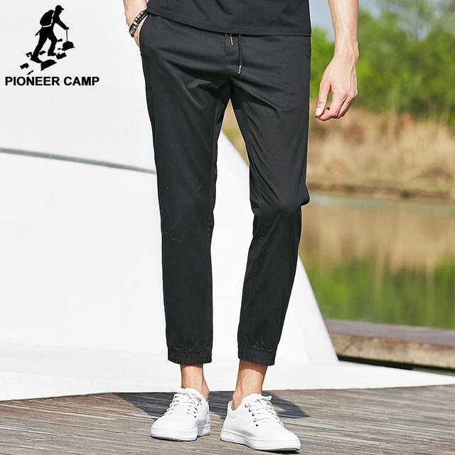 Pioneer camp 2017 hombres de verano de moda de marca pantalones de algodón mediados de cintura elástica pantalones casuales pantalones de chándal negro hombres ropa 655116