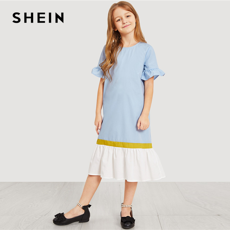 SHEIN Kiddie Blue Keyhole Back Cut and Sew Ruffle Button Tunic Teenage Girl Party Midi Dress Summer Shift Casual Girls Dresses ruffle strap and hem striped dress