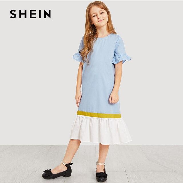 SHEIN Kiddie/туника с вырезами на спине и рюшами на пуговицах вечерние летние миди-платья для девочек-подростков повседневные платья для девочек