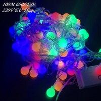 DHL 100M 600 LEDs 220V IP44 Outdoor Multicolor LED String Lights Christmas Lights Holiday Wedding party decoration Luces LED