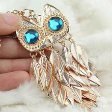 New Fashionable Stylish Gold Leaves Owl Charm Chain Long Women Pendant Necklace 00IN