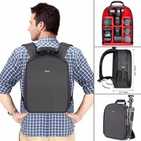Neewer Camera Case Waterproof Shockproof 31x14x37 cm Backpack Bag with Tripod Holder for Camera Flash Accessories Black/Red Grey