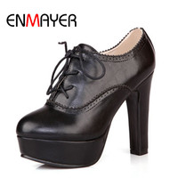 ENMAYER Hot Women Boots New 2014 High Heeled Shoes Ankle Boots For Women PU Round Toe