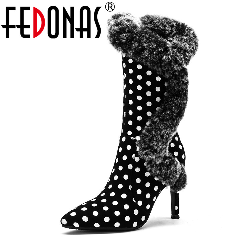 FEDONAS Fashion Brand Women Mid-calf Boots High Heels Warm Winter Shoes Woman Sexy Pointed Toe High Knight Boots Female Pumps fedonas 1new women mid calf boots autumn winter warm high heels shoes woman pointed toe elegant bling party prom dancing pumps