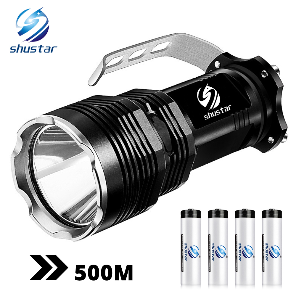 Super Bright Long-range LED Searchlight Flashlight 5 Lighting Modes Waterproof Aluminum Alloy Suitable For Hunting, Adventure