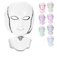 Светодиодный спа-маска для лица, 7 цветов, омоложение кожи, Отбеливание лица, красота, ежедневный уход за кожей, маска, светодиодный светильник, маска для красоты шеи