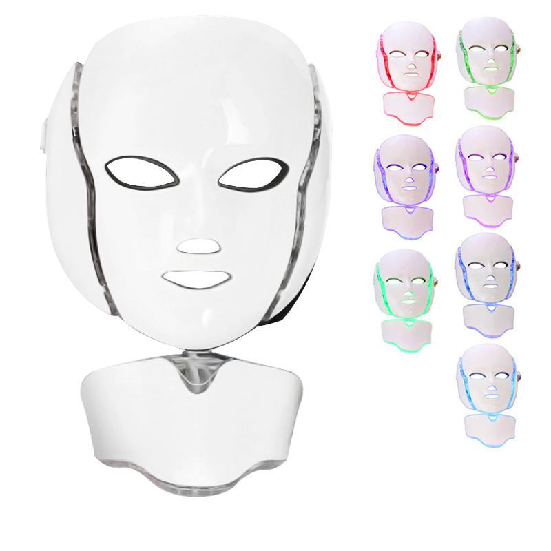 7 Colors Led Mask Spa Facial Masks Skin Rejuvenation Whitening Facial Beauty Daily Skin Care Mask  LED Light Neck Beauty Mask