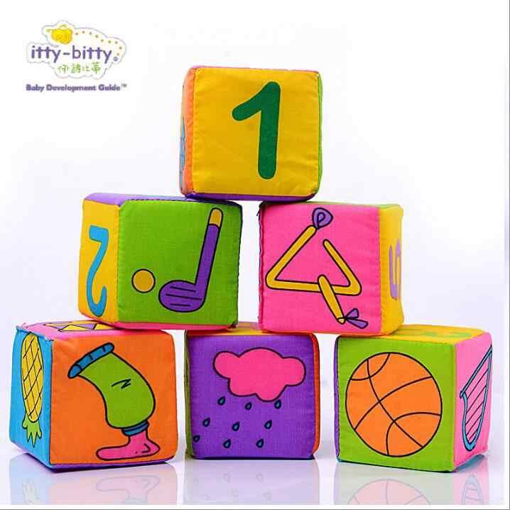 6 Pcs bayi Mainan Blok kain Kubus blok Bangunan Mainan Kerincingan Mewah Empuk Anak Bayi awal Mainan Pendidikan bangunan Antistress Gadis