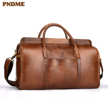 PNDME vintage simple genuine leather mens travel bag high quality  soft cowhide arge capacity handbag shoulder duffel