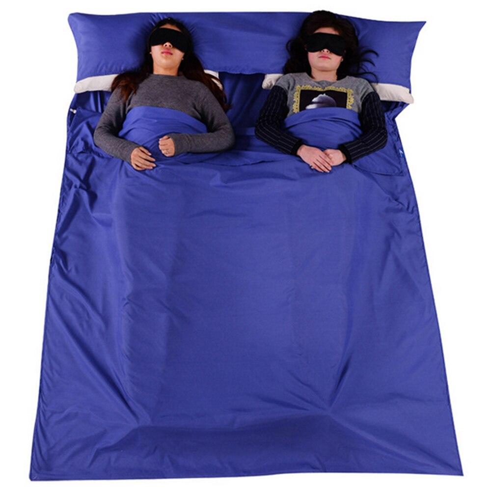 Hình ảnh Ngoài trời Di Động Mềm Mại 2 Người 2 Cặp Đôi Túi Ngủ với một Túi đựng Du Lịch Cắm Trại Đi Bộ Đường Dài Khách Sạn Màu Xanh Đen -quốc tế