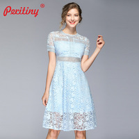 Peritiny Blue Dress Summer Clothing Women Fashion 2019 Lace Short Sleeve High Waist Elegant Casual Party Dresses