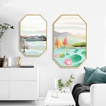 Nordic style simple modern living room hanging painting background wall decorative restaurant mural Four seasons