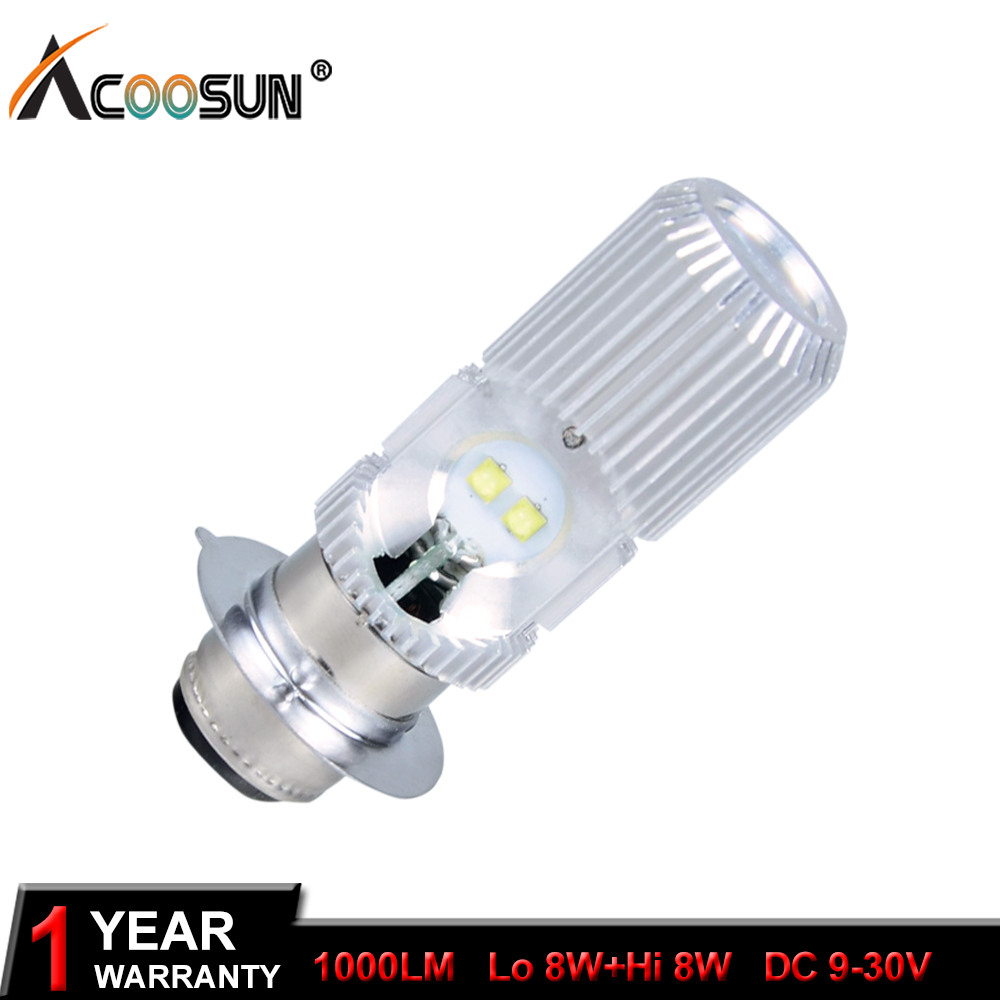AcooSun P15d 12V LED Motorcycle Motorbike Headlight 6500K 1000Lm Fog Lamp Bulb Lights DC12V 24V Moped Scooter Outdoor Lighting