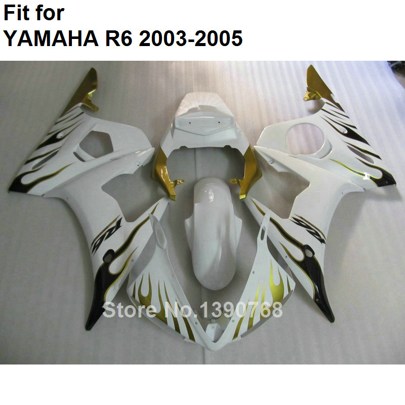 Hot sale fairings for Yamaha YZF R6 2003 2004 2005 gold flames black body work parts fairing kit YZFR6 03 04 05 BC30