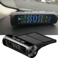 Car Tire Pressure Sensor Monitoring Intelligent TPMS Security Alarm System Solar Power Charging Wireless LCD Display