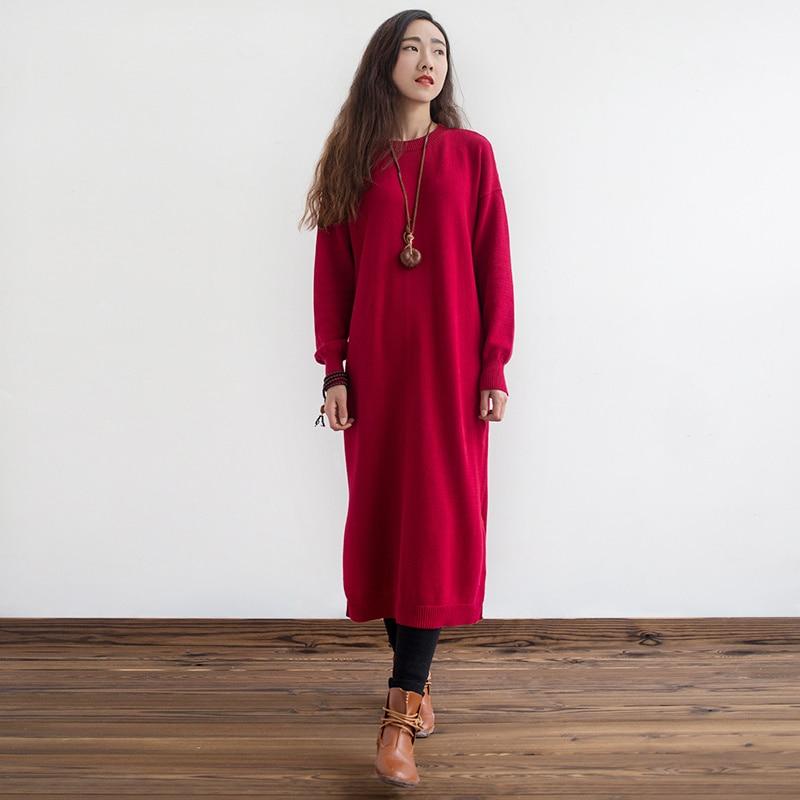 bcc081aaf80 2017 New Autumn New Leisure Original Knitted Dress Long Sleeve Knitted Long  Women Sweater
