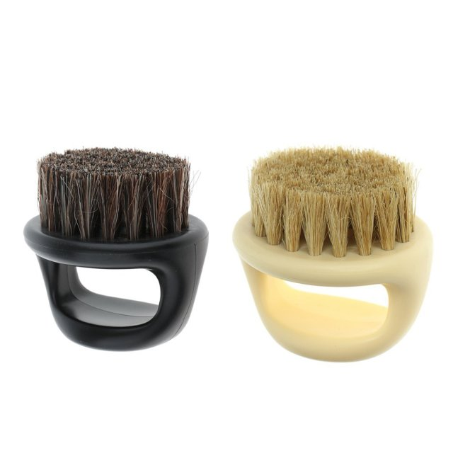 Pro Hairdresser Dust Brush Anti Static Boar Bristle Ring Beard Comb Salon Hair Sweep Brushes Shaving Facial Men's Mustache Brush 1
