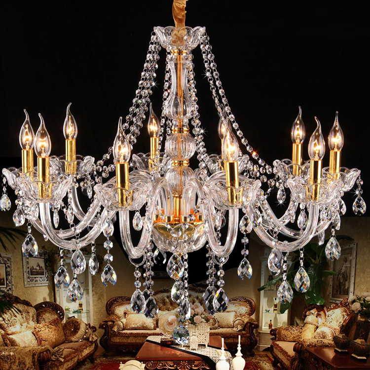 Italy Style Clear Glass Arm Chandelier 8 10 Pcs Led Gold Candle Chandeliers Bedroom Hanging Lamps Vintage Droplight Kids Lights In From