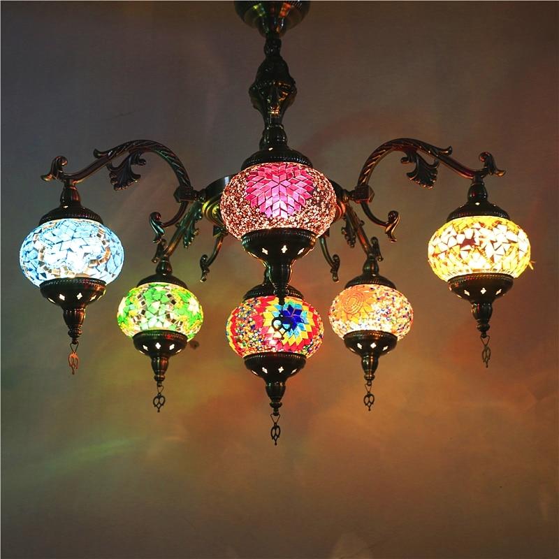 Bohemia turco marroquino luz pingente artesanal mosaico de vidro manchado corredor escada café restaurante pendurado lâmpada luz