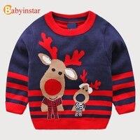 Babyinstarファッションキッズセーター漫画鹿ストライプ男の子女の子ニット冬プルオーバー幼児子供セーターシャツ用2018
