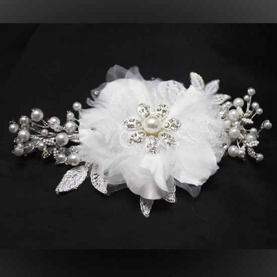 Ручной работы свадебные волосы расческа цветок жемчуг горный хрусталь Свадебные аксессуары для волос кружева украшения на голову WIGO0357