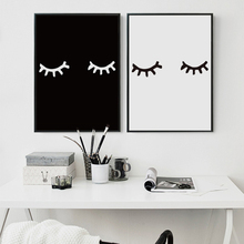 Nordic Modern Minimalistic Abstract Black And White Eyes Canvas Painting Art Print Poster Picture Wall Office Bedroom Home Decor