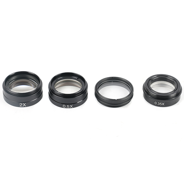 0.5X / 2.0X / 0.35X Barlow Auxiliary Objective Glass Lens For XDC-10A 180X 300X C-MOUNT Lens Industry Video Microscope Camera