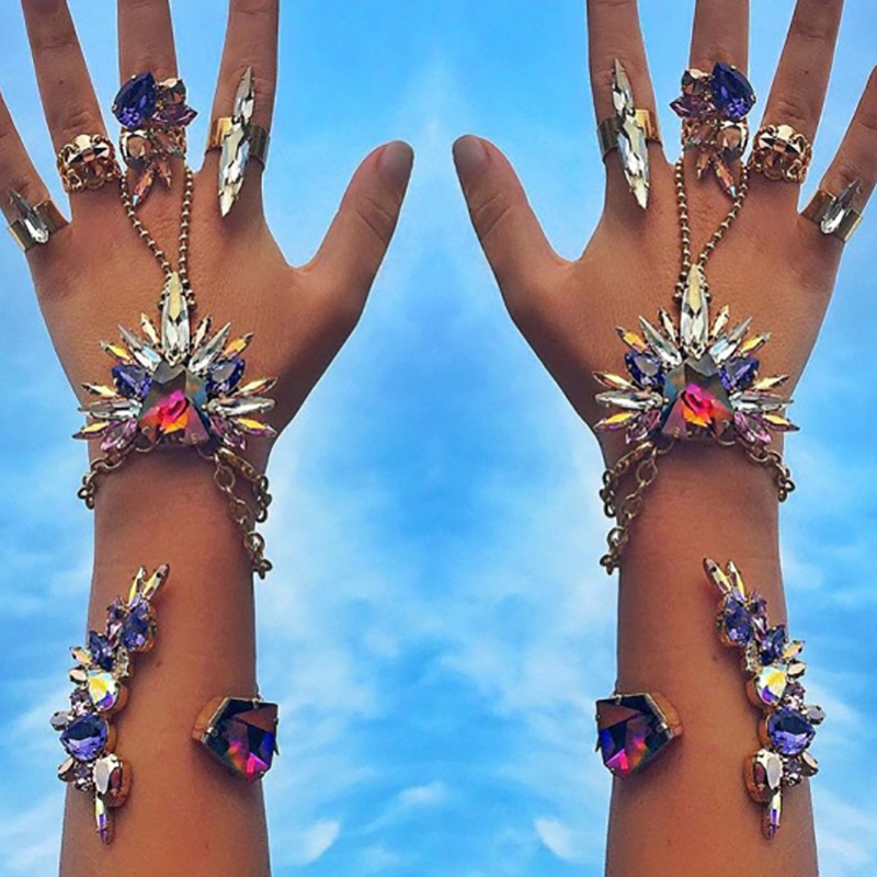 4 Colors Beach Vacation Crystal Boho Bracelet Sandals Sexy Leg Chain Female JURAN Cute Flowers Anklet Statement Body Jewelry - Click Image to Close
