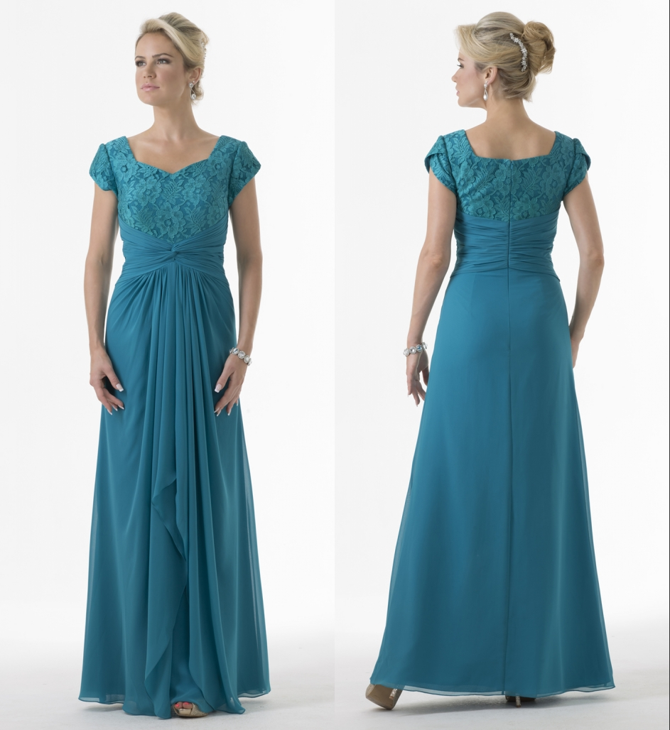 Teal Green Long Modest Bridesmaid Dresses 2017 With Cap ...