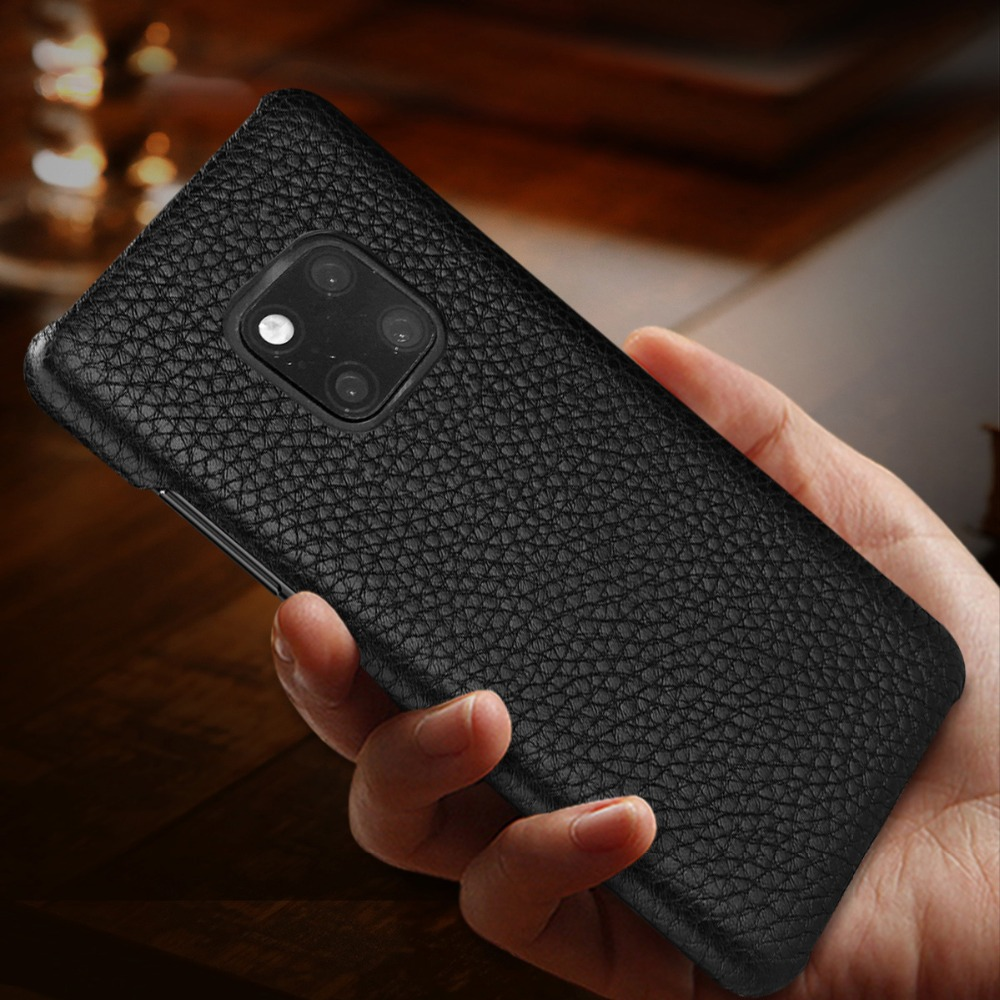 Luxury Genuine Leather Phone Case For Huawei P30 P20pro Mate20 Premium Slim Protetive Back Cover For Huawei Mate10pro Mate9 P10 in Half wrapped Cases from Cellphones Telecommunications