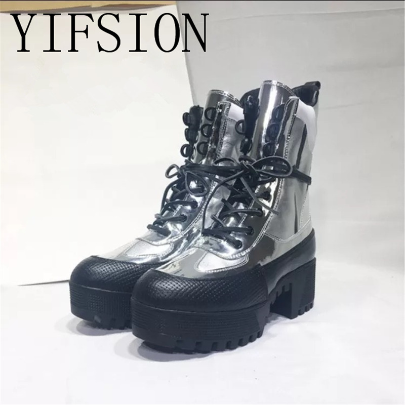 YIFSION New Fashion Silver Genuine Leather Women Ankle Boots Round Toe Lace Up Thick Heel Warm Platform Shoes Woman