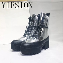 YIFSION New Fashion Silver Genuine Leather Women Ankle Boots Round Toe Lace Up Thick Heel Women Warm Platform Boots Shoes Woman