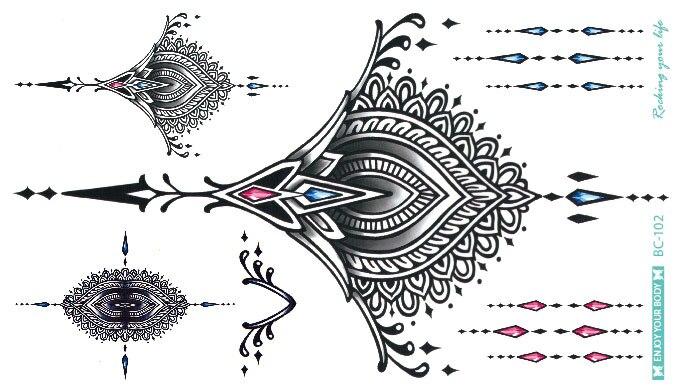 ad4222dd5288d קנו אמנות הקעקוע והגוף | BC-5Sheets Trendy Women Chest Back Temporary  Tattoo Large Flower Shoulder Arm Sternum Tattoos Sexy Henna Body Paint