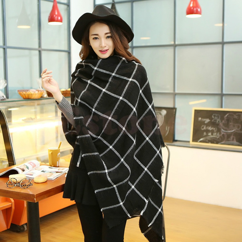 1X Hot Women Lady Blanket Black White Plaid Cozy Checked font b Tartan b font Scarf