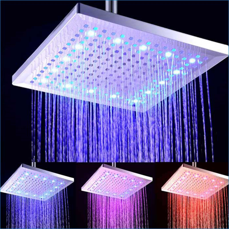 Lovely Large Square Led Top Spray Shower Head,led Square Rain Shower Head,12-inch Led 3 Color Led Shower Head,j14212 Elegant And Sturdy Package Home Improvement