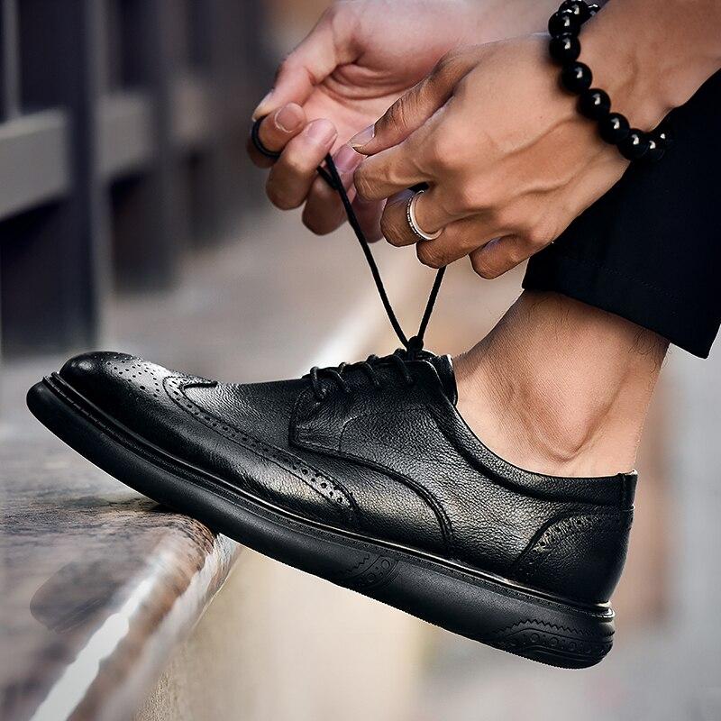 Décontracté Chaussures En Cuir Véritable mode Hommes Oxfords Robe De Mariage Chaussures bullock Mâle Britannique d'affaires Respirant Chaussures de soirée k4