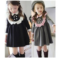 2016 High Quality School Style Girls Dress Princess Children S Spring Wind Dress
