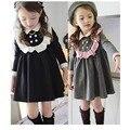 2016 high quality School style  girls dress princess children's spring wind dress