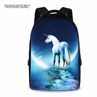 TWOHEARTSGIRL Unicorn Printing 17 Inch Laptop Backpack Large Capacity Backpack Women Preppy School Bags For Men