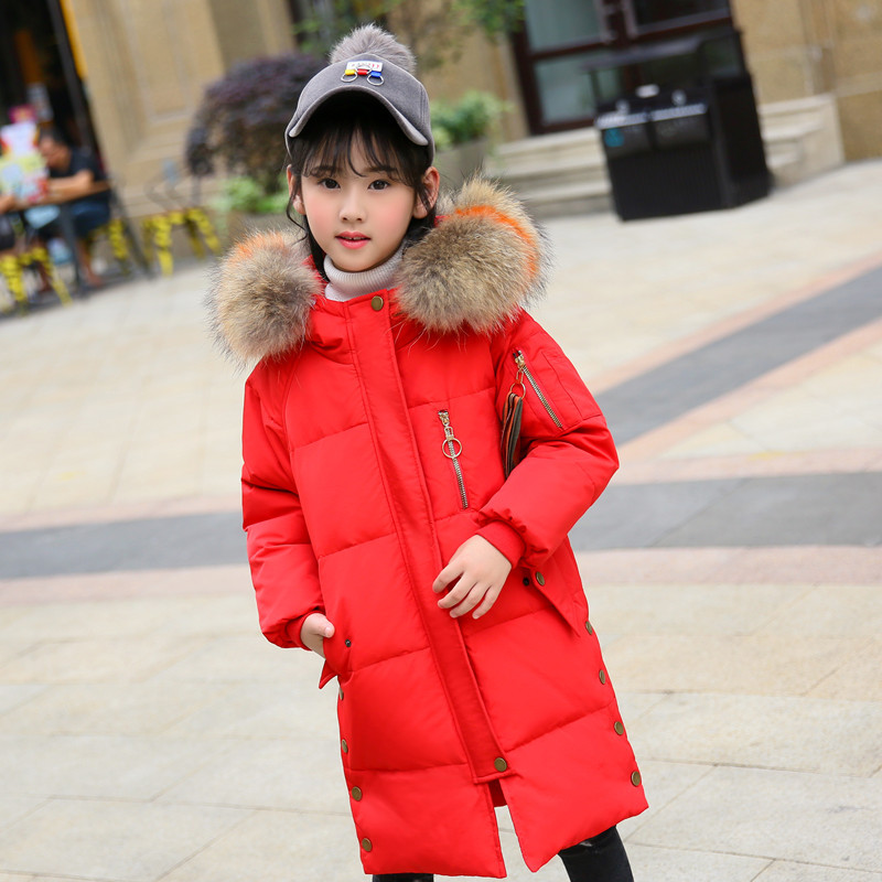Girls Down Coats 2019 Fashion Winter Coat Kids Warm Thick Fur Collar Hooded Long Parka Winter Jacket for Teenage Clothes 5-14 Y