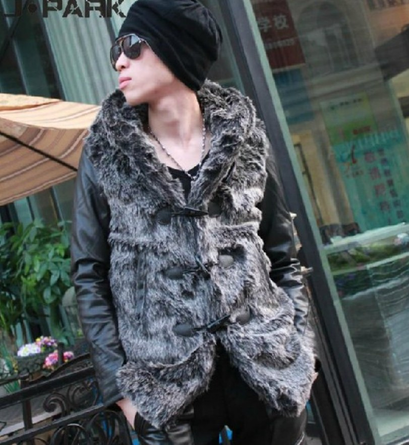Free Shipping Men Fashion Winter Pu Imitation Mink Medium-long Overcoat Slim Thickening Outerwear With A Hood Coat / S-l