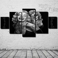 5ピース/セットマリリン·モンローキャンバス絵画プリントキャンバス写真フレームレスアートポスター用リビングルーム家の装飾壁ステッカー
